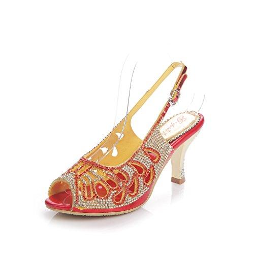 Meijili - Sandalias mujer Heels Red