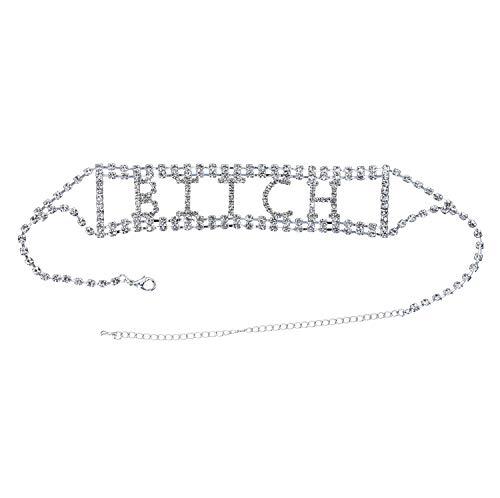 Clear Rhinestone Bitch Wide Choker Necklace Costume Jewelry Silver Stripper