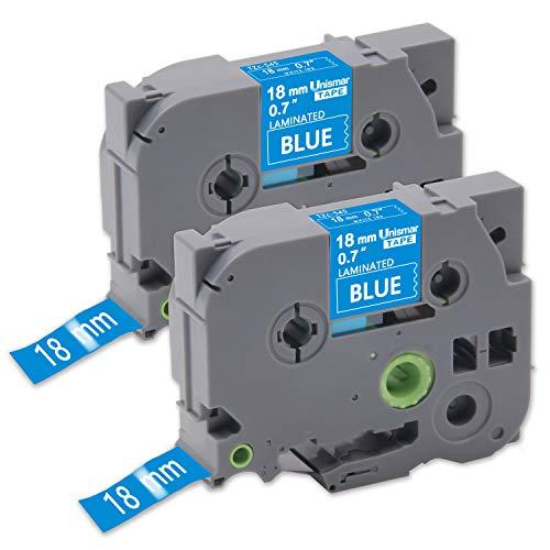 Unismar Tze-545 Tze545 Tze 545 18mm Laminated Label Tape White on Blue Compatible for Brother PT-D400AD PT-D400VP PTD600VP PT-D450 PT-2030 PT-1880C PT-1890C PT-P750W, 3/4