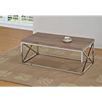 Reclaimed-Look/Chrome Metal Cocktail Coffee Table, Dark Sonoma