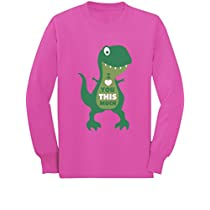 T-Rex I Love You This Much Valentines Day Toddler/Kids Long Sleeve T-Shirt 3T Black