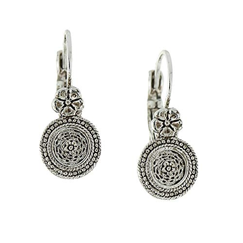 (Antiquities Couture Silver-Tone Floral Disk Drop Earrings)