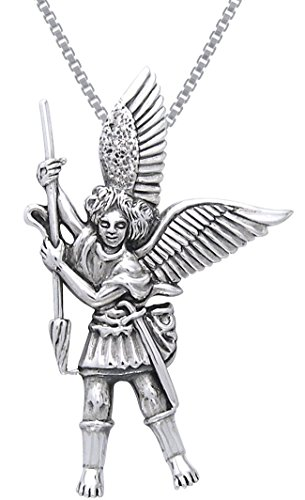 Jewelry Trends Sterling Silver Michael The Archangel Angel Pendant on 18 Inch Box Chain Necklace -