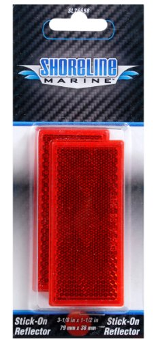 Shoreline Marine Stick-On Trailer Reflector, Reflective (Red Reflector)