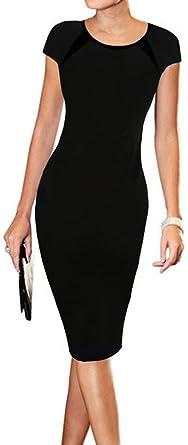 76c8e4c1 LunaJany Women's Cap Sleeve Wear to Work Office Career Sheath Midi Dress S  4black