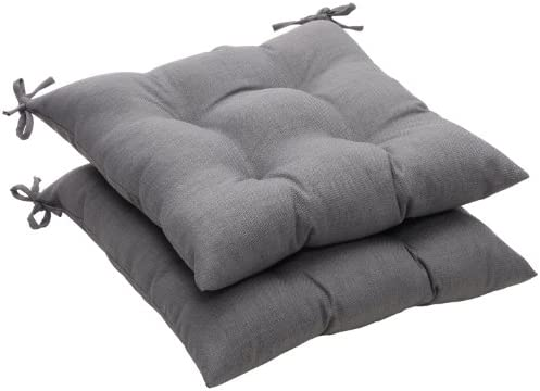 Pillow Perfect Indoor Outdoor Gray Textured Solid Tufted Seat Cushion, 2-Pack