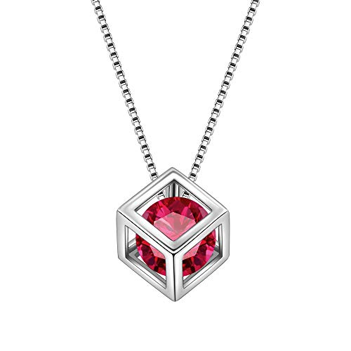 (Aurora Tears July Birthstone Necklaces Women Crystal 925 Sterling Silver 3D Cube Birth Stone Pendant Cubic Zirconia Jul. Birthday Pendant Girls Charm Dating Jewelry DP0028R)