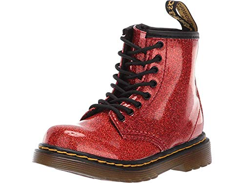 Dr. Martens Kid's Collection Baby Girl's 1460 Patent Glitter Toddler Brooklee Boot (Toddler) Red Multi Coated Glitter 9 M UK -