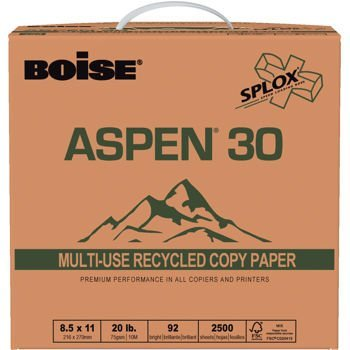 Boise Splox Aspen 30% Recycled Ream-Less Acid-free Copy & Multipurpose Paper, Letter, 20lb, 92-Bright, 2,500ct