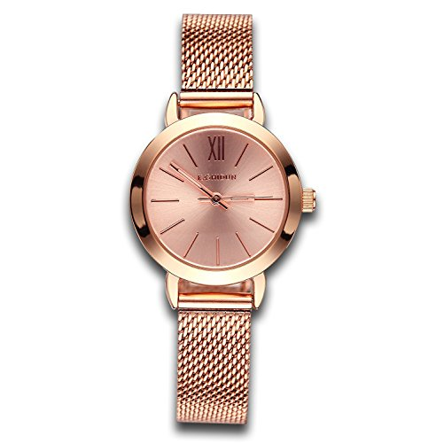 Women's Watches Gorgeous Waterproof Quartz Wristwatches Mesh Alloy Bracelet Small Size Rose Gold (Pink Gold Watch)