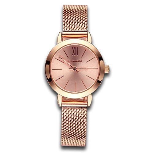 Women's Watches Gorgeous Waterproof Quartz Wristwatches Mesh Alloy Bracelet Small Size Rose Gold Color ()