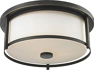 """Z-lite 413f16 Savannah Olde Bronze 6.125"""" Tall Flush Ceiling Light Fixture"""