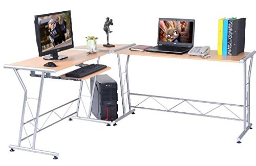 K&A Company Writing Computer Desk Table Student Storage Shelves Kids Room New Furniture Dorm Laptop Wood Corner Drawer Office Shelf Work Unit L-Shaped Workstation by K&A Company