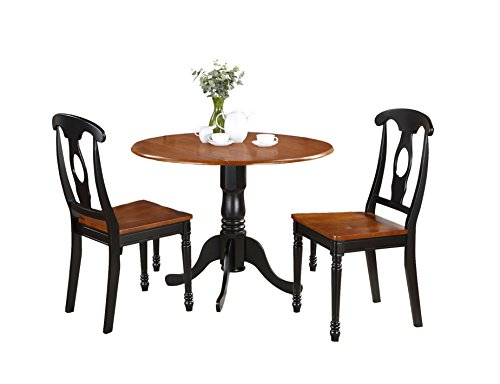 Dining Room Set Cupboard - East West Furniture DLKE3-BCH-W 3-Piece Kitchen Table Set, Black/Cherry Finish