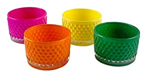 Party Explosions® Colorful Embossed Glass Votive Candle Holders - Set of 4
