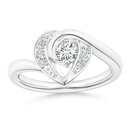 2-Prong Set Solitaire Diamond Swirl Heart Ring for Women in 14K White Gold (Color: G, Clarity: VS2) - 14k Wg Diamond Swirl Ring