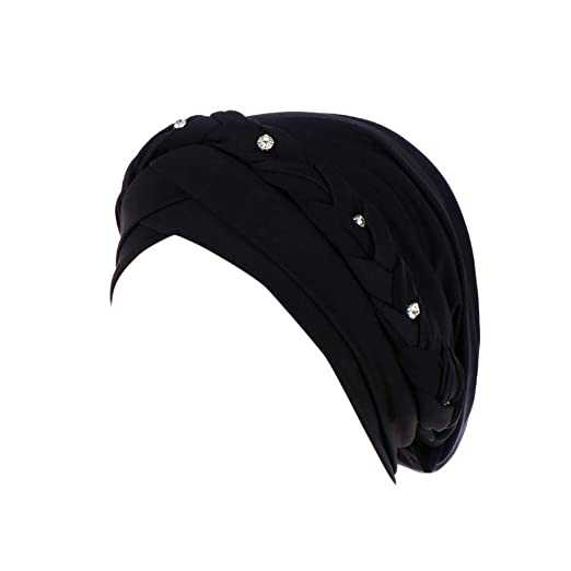 Amazon.com  VEZAD Rhinestone India Hat Women Muslim Ruffle Cancer ... ca79fb46b28c