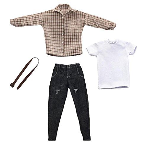 Homyl 1/6 Male Top T-Shirts Short Sleeve+Belt+Black Pants for 12'' Dragon Figures - 12' Figure Dragon