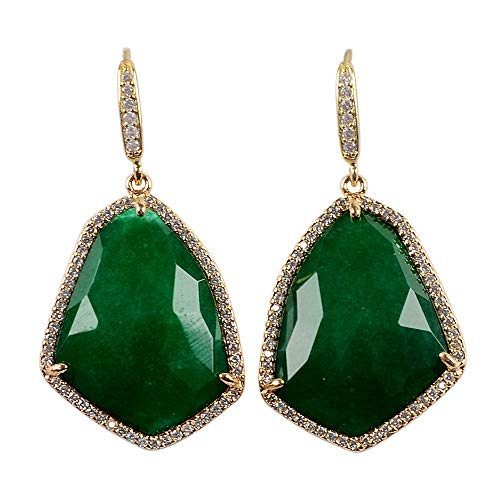 ZENGORI 1 Pair Gold Plated Faceted Dyed Color Jade Drop Dangle Earrings CZ Micro Pave ()