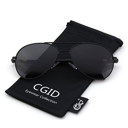 CGID CM29 Classic Metal Mirror Lens Aviator Sunglasses w/ Spring Hinges,Matte Black - Polarized Sunglasses Polarized Difference And Non Between