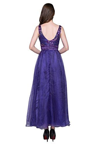 Linie Emily Beauty A Ausschnitt Abendkleider tiefem Violett V Satin Doppel 1qqTRpO