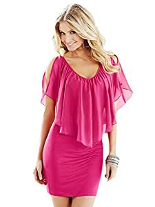Joshua G Smith's Shop 9526864J078252106S0 Cool Cut-Out Solid Color Chiffon Bodycon Dress Color Rose Size XL