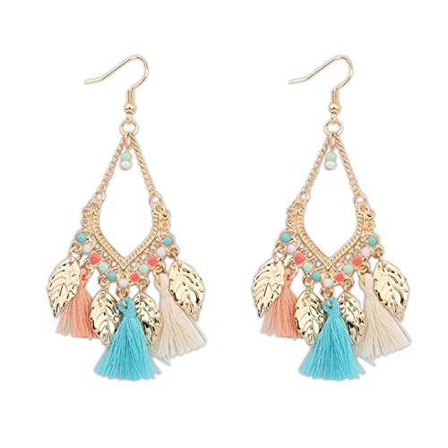 [Myun Statement Gold Tone Leaf Colorful Tassel Drop Dangle Hook Earrings for Women Fashion Jewelry] (Simple Halloween Costumes For High School)