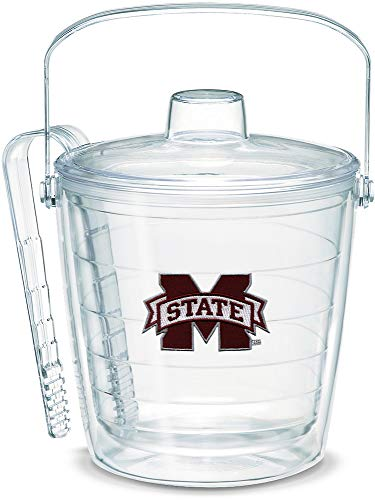 Mississippi State Ice Bucket - Tervis 1053430 Mississippi State Bulldogs Logo Ice Bucket with Emblem and Clear Lid 87oz Ice Bucket, Clear
