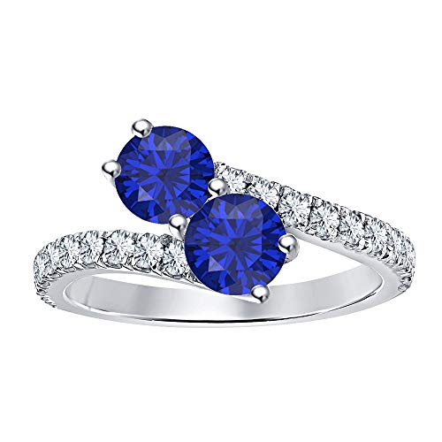 (RUDRAFASHION Women's 14K White Gold Plated Round Cut Created Blue Sapphire & Diamond Two Stone Promise Ring)