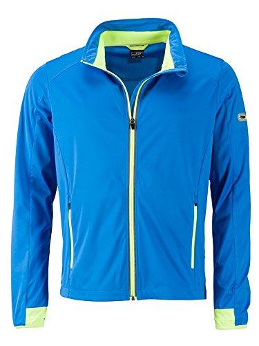 bleu (Bright-bleu Bright-jaune) XXL JAMES & NICHOLSON Hommes's Sports Softshell veste, Blouson Homme
