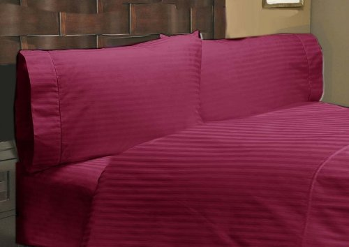 """UPC 888099536644, 500 Thread Count 1 PC Fitted Sheet 100% Egyptian Cotton Stripe Burgandy Expanded Queen 30"""" Deep Pocket"""