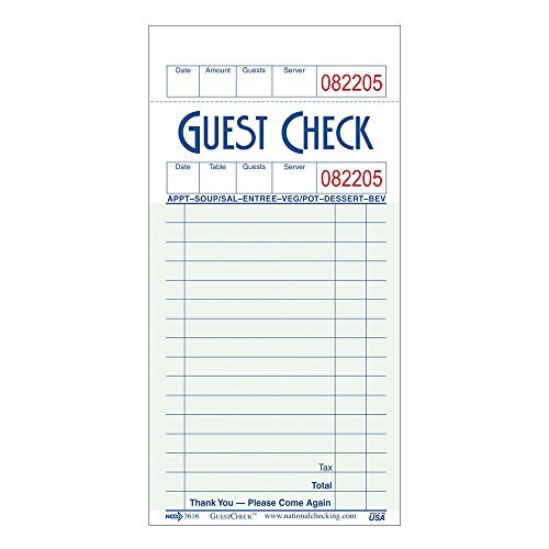 NCCO Guest Check G3616SP - 1 Case with 5 Pac by National Checking Company [NCCO]