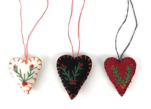 Heart Ornament Miniature - Tony Int. Mini Wool Heart Christmas Tree Ornaments, Set of 3 Handmade