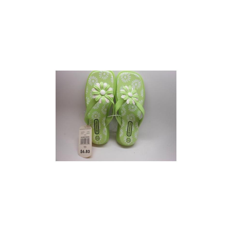 KidConnection Flower Power Girls Flip Flops Size 10 Color GREEN