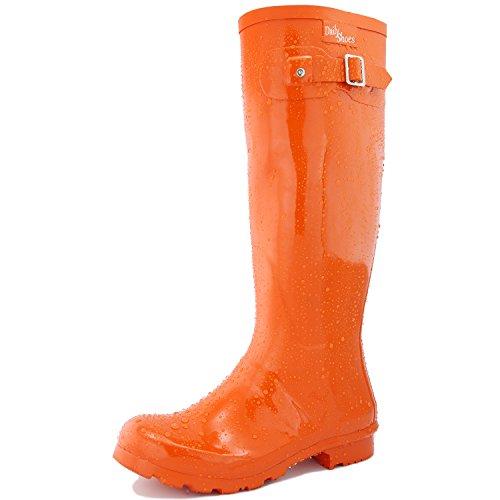 DailyShoes Women's Knee High Round Toe Rain Boots, Orange - 11 B(M) US