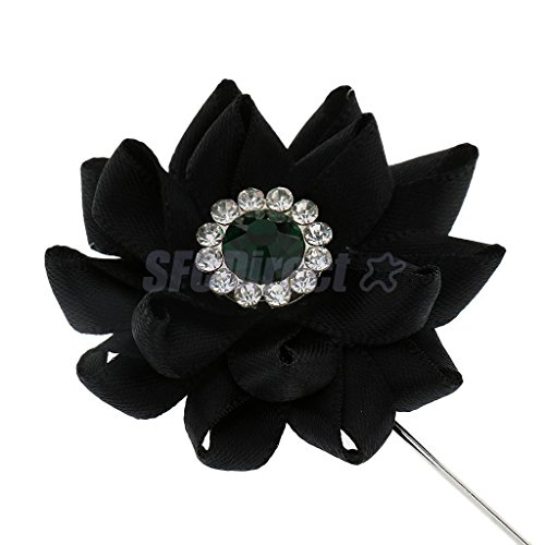 1 Pc Black Lapel Flower Daisy Handmade Boutonniere Stick Brooch Pin Men's - Brooch Swag Pin