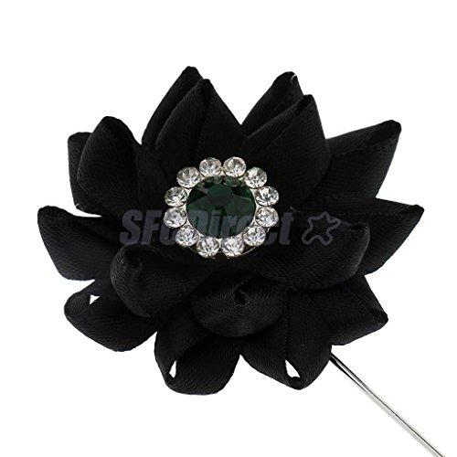 1 Pc Black Lapel Flower Daisy Handmade Boutonniere Stick Brooch Pin Men's - Brooch Pin Swag