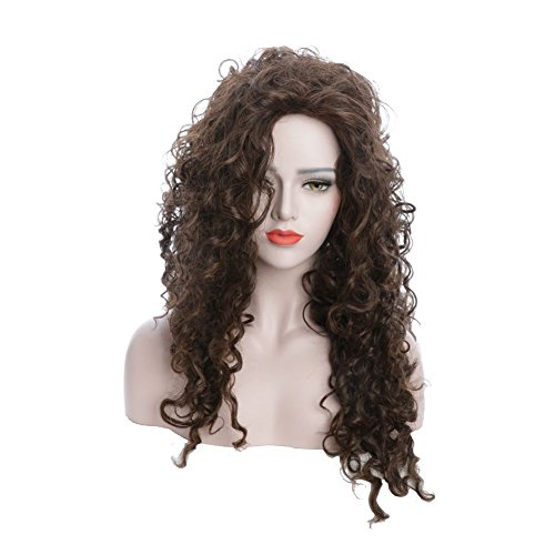 Karlery Women's Fluffy Loose Wave Brown Hair Halloween Cosplay Wig with Anime Costume (Bellatrix Costumes)