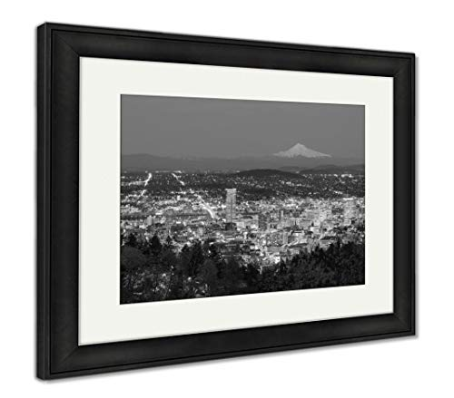 Vista Wall Frame - Ashley Framed Prints Beautiful Night Vista of Portland Oregon, Wall Art Home Decoration, Black/White, 34x40 (Frame Size), Black Frame, AG6508438