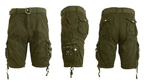 Galaxy by Harvic Mens Cargo Shorts Cotton Belted Vintage Distressed Lounge (Olive, 30)