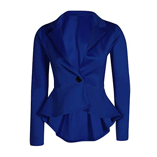 New Women's Ladies Crop Frill Shift Slim Fit Peplum Blazer Jacket Coat Blue ()
