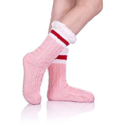 LINEMIN Women Stripe Slipper Sock Super Soft Sherpa Lined Non skid Fuzzy Cozy Winter Socks (Pink)
