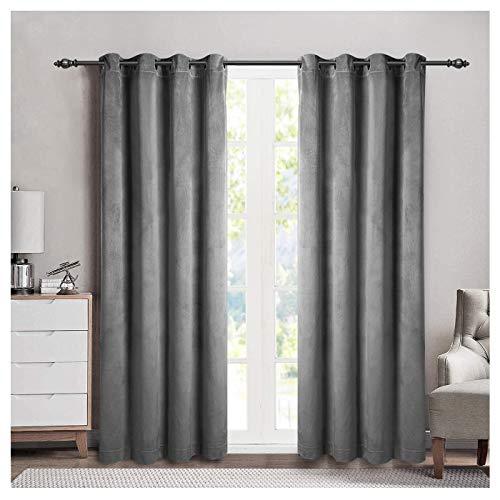 (SINGINGLORY Window Velvet Curtains, Luxury Grommet Blackout Drapes with 2 Tiebacks, 2 Panels (W52 xL84, Smoky)