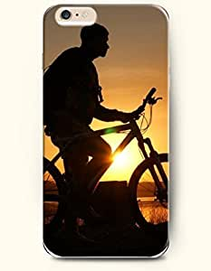 New Case Cover For Apple Iphone 4/4S Hard Case Cover - a Man Riding Bike at Sunset