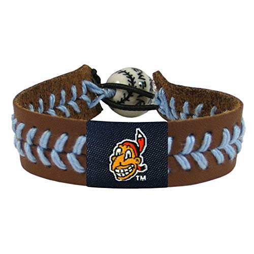MLB Cleveland Indians Chief Wahoo Brown Leather/Powder Blue Thread Team Color Baseball Bracelet