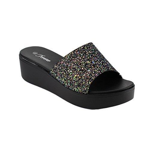 FOREVER FQ46 Women's Glitter Wide Band Wedge Heel Slide Sandals, Color Multi, Size:8.5 (Wedge Slides Band)