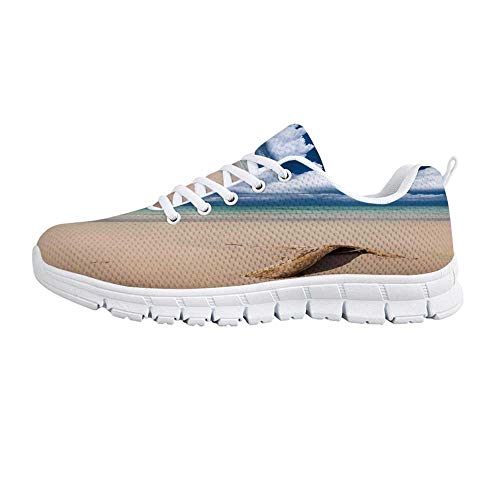 YOLIYANA Driftwood Decor Jogging Running Shoes,Sea Theme Driftwood on The Sandy Beach and Cloudy Sky Digital Print Sneakers for Girls Womens,US Size 5.5