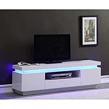Flash Meuble Tv 165cm Blanc Laque Avec Led Bleue Amazon Fr Cuisine