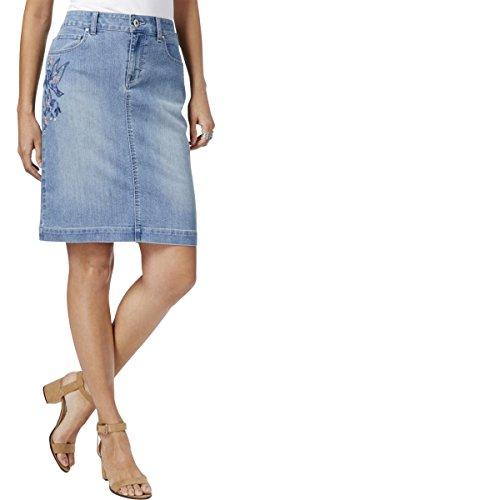 Style & Co. Womens Denim Embroidered Denim Skirt Blue 6