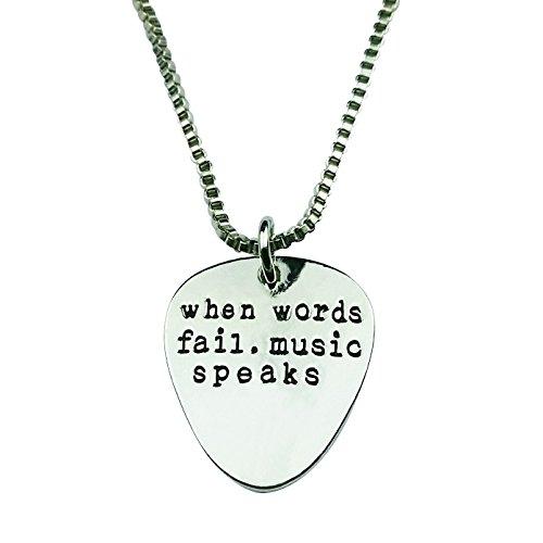 e When Words Fail Music Speaks Guitar Pick Lover Pendant Necklace (Music Guitar Necklace)